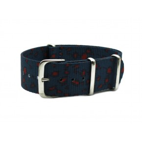 HNS Double Graphic Printed Grey Blue Leopard Heavy Duty Ballistic Nylon Watch Strap With Polished Stainless Steel Buckle