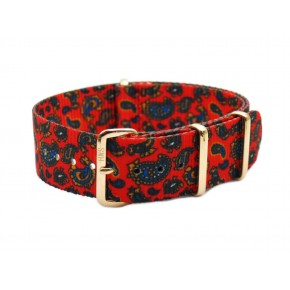 HNS Double Graphic Printed Vintage Paisley Pattern Heavy Duty Ballistic Nylon Watch Strap With Rose Gold Polished Stainless Steel Buckle