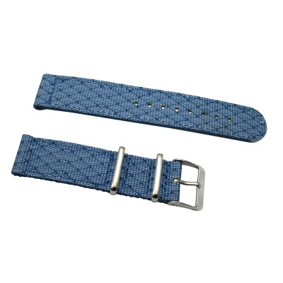 HNS 2 Pieces Double Graphic Printed Indigo Sashiko Waves Blue BG Heavy Duty Ballistic Nylon Watch Strap With Polished Stainless Steel Buckle