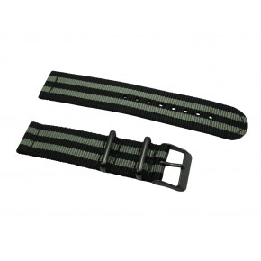 HNS 2 Pieces James Bond 007 Black & Grey Heavy Duty Ballistic Nylon Watch Strap With PVD Coated Stainless Steel Buckle