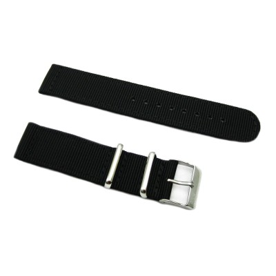 HNS 2 Pieces Black Heavy Duty Ballistic Nylon Watch Strap With Stainless Steel Buckle