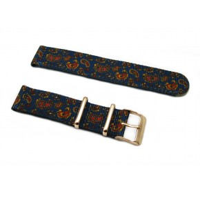 HNS 2 Pieces Double Graphic Printed Vintage Navy Paisley Pattern Heavy Duty Ballistic Nylon Watch Strap With Rose Gold Polished Stainless Steel Buckle