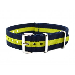 HNS Navy & Yellow Heavy Duty Ballistic Nylon Watch Strap With Polished Stainless Steel Buckle
