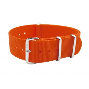 HNS Orange Heavy Duty Ballistic Nylon Watch Strap With Polished Stainless Steel Buckle