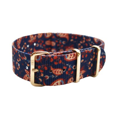 HNS Double Graphic Printed Vintage Paisley Heavy Duty Ballistic Nylon Watch Strap With Rose Gold Polished Stainless Steel Buckle