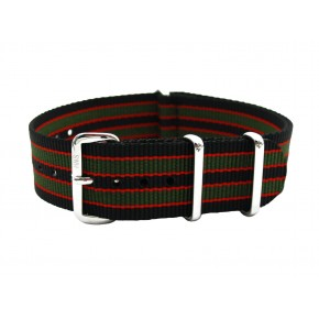HNS Black Orange Green Strip Heavy Duty Ballistic Nylon Watch Strap With Polished Stainless Steel Buckle