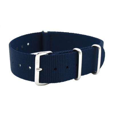HNS Navy Heavy Duty Ballistic Nylon Watch Strap With Polished Stainless Steel Buckle