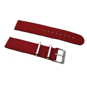 HNS 2 Pieces Red  Heavy Duty Ballistic Nylon Watch Strap With Stainless Steel Buckle