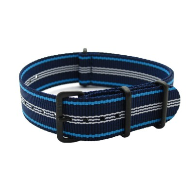 HNS Navy Stripe Heavy Duty Ballistic Nylon Watch Strap With PVD Coated Buckle