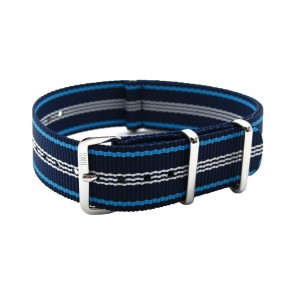 HNS Navy Stripe Heavy Duty Ballistic Nylon Watch Strap With Polished Stainless Steel Buckle