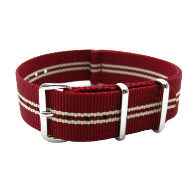 HNS Red White Strip Heavy Duty Ballistic Nylon Watch Strap With Polished Stainless Steel Buckle