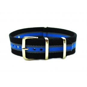 HNS Black & Grey & Blue Strip Nylon Watch Strap With Rose Gold Polished Stainless Steel Buckle
