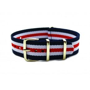 HNS Blue & White & Red Strip Nylon Watch Strap With Rose Gold Polished Stainless Steel Buckle