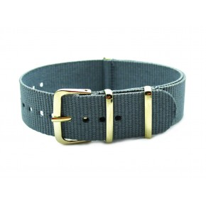 HNS Grey Nylon Watch Strap With Rose Gold Polished Stainless Steel Buckle