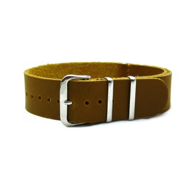 HNS Handmade Coffee Calf Leather Watch Strap With 3 Polished Stainless Steel Rings