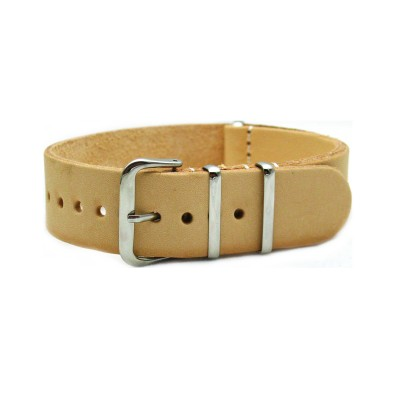 HNS Handmade Natural Calf Leather Watch Strap With 3 Polished Stainless Steel Rings