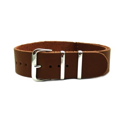HNS Handmade Brown Calf Leather Watch Strap With 3 Polished Stainless Steel Rings