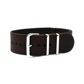 HNS Handmade Vintage Dark Brown Calf Leather Watch Strap With 3 Polished Stainless Steel Rings