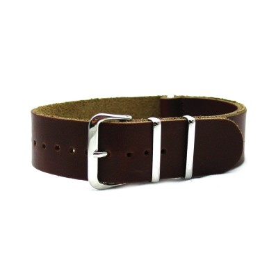 HNS Handmade Dark Brown Calf Leather Watch Strap With 3 Polished Stainless Steel Rings