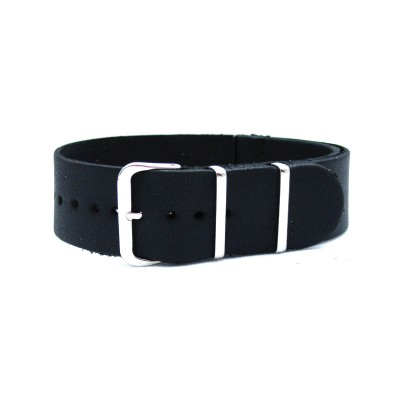 HNS Handmade Black Calf Leather Watch Strap With 3 Polished Stainless Steel Rings