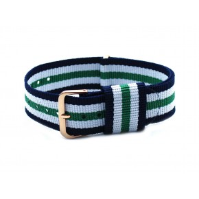 HNS Navy & White & Green Strip Nylon Vintage Watch Strap With Rose Gold Polished Stainless Steel Buckle