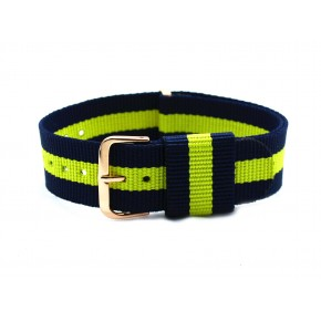 HNS Navy & Yellow Strip Nylon Vintage Watch Strap With Rose Gold Polished Stainless Steel Buckle