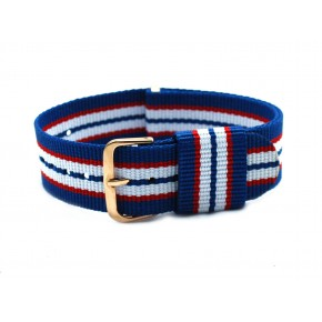 HNS Blue & Red & White Strip Nylon Vintage Watch Strap With Rose Gold Polished Stainless Steel Buckle