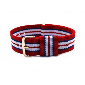HNS Red & Blue & White Strip Nylon Vintage Watch Strap With Rose Gold Polished Stainless Steel Buckle