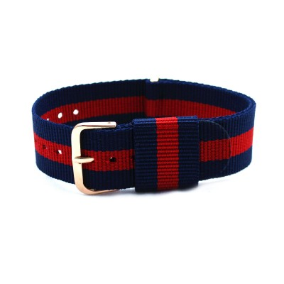 HNS Navy & Red Strip Nylon Vintage Watch Strap With Rose Gold Polished Stainless Steel Buckle