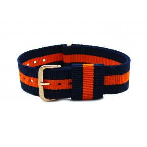 HNS Navy & Orange Strip Nylon Vintage Watch Strap With Rose Gold Polished Stainless Steel Buckle