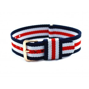 HNS Blue & White & Red Strip Nylon Vintage Watch Strap With Rose Gold Polished Stainless Steel Buckle