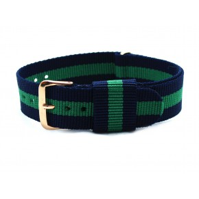 HNS Navy & Green Strip Nylon Vintage Watch Strap With Rose Gold Polished Stainless Steel Buckle