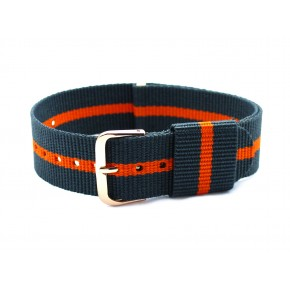 HNS Grey & Orange Strip Nylon Vintage Watch Strap With Rose Gold Polished Stainless Steel Buckle
