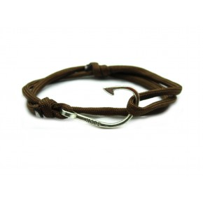Slim 550 Brown Paracord Survival Adjustable Weave Hook Bracelet