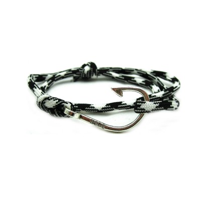 Slim 550 Blacck & White Paracord Survival Adjustable Weave Hook Bracelet