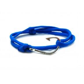 Slim 550 Blue Paracord Survival Adjustable Weave Hook Bracelet