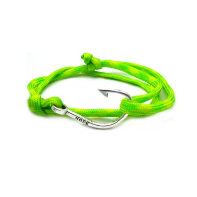 Slim 550 Yellow Green Paracord Survival Adjustable Weave Hook Bracelet