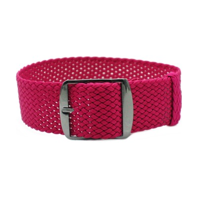 HNS Rose Red Perlon Tropic Braided Woven Watch Strap With PVD coated Stainless Steel Buckle