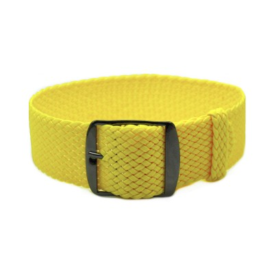 HNS Yellow Perlon Tropic Braided Woven Strap With PVD Coated Stainless Steel Buckle