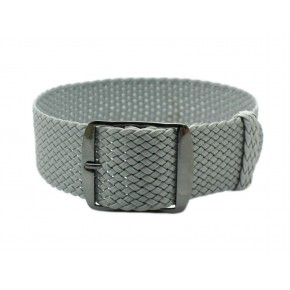 HNS Grey Perlon Tropic Braided Woven Strap With PVD Coated Stainless Steel Buckle