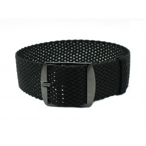 HNS Black Perlon Tropic Braided Woven Strap With PVD Coated Stainless Steel Buckle