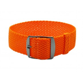 HNS Orange Perlon Tropic Braided Woven Strap With PVD Coated Stainless Steel Buckle