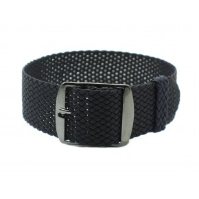 HNS Charcoal Perlon Tropic Braided Woven Strap With PVD Coated Stainless Steel Buckle