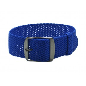 HNS Blue Perlon Tropic Braided Woven Strap With PVD Coated Stainless Steel Buckle