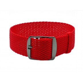 HNS Red Perlon Tropic Braided Woven Strap With PVD Coated Stainless Steel Buckle