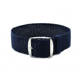 HNS Navy Perlon Tropic Braided Woven Strap With Brushed Stainless Steel Buckle