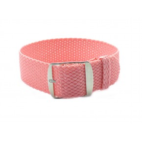 HNS Pink Perlon Tropic Braided Woven Strap With Brushed Stainless Steel Buckle