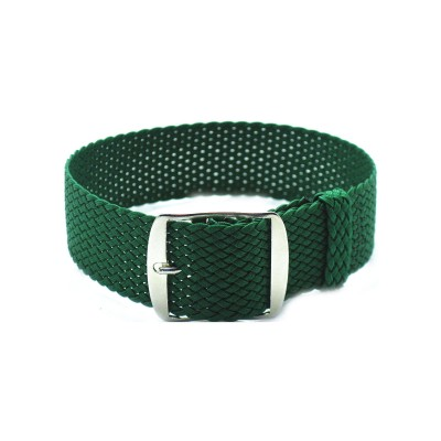 HNS Green Perlon Tropic Braided Woven Strap With Brushed Stainless Steel Buckle