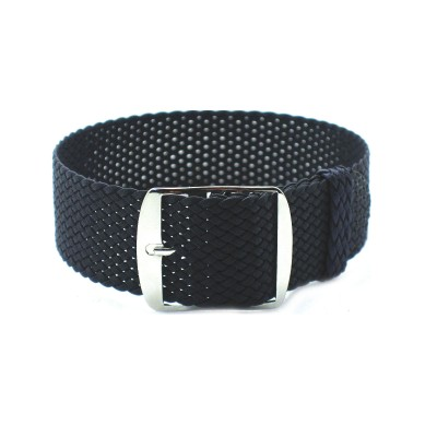 HNS Charcoal Perlon Tropic Braided Woven Strap With Brushed Stainless Steel Buckle