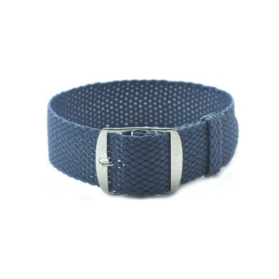 HNS Grey Blue Perlon Tropic Braided Woven Strap With Brushed Stainless Steel Buckle